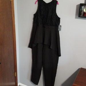 Eloquii High Low Lace Jumpsuit Sz18 Black
